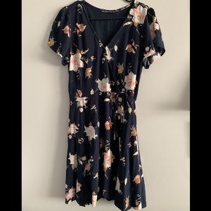 Abercrombie Navy Floral Mini Wrap Dress - Med Tall